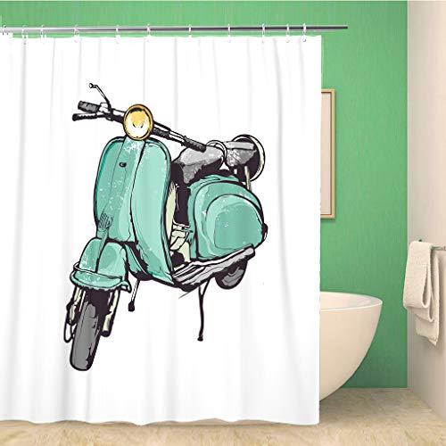 Awowee Decor Duschvorhang Vespa Vintage Hand Grafik Old Türkis Roller Italien Retro 180 x 180 cm Polyester Stoff Wasserdicht Badvorhänge Set mit Haken für Badezimmer
