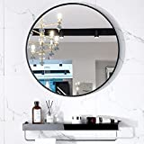 Liweke, grande specchio rotondo da 60 cm, nero con ripiano rotondo da parete per ingresso, bagno, soggiorno, camera da letto, spogliatoio, corridoio