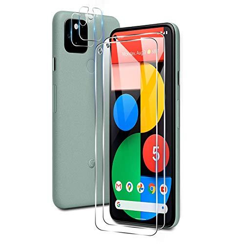 【最新改良・4枚入り】Google Pixel5 ガラスフィルム(2枚入)+カメラフィルム(2枚入)TUTUO【旭硝子製】強化ガラスフィルム レンズ保護フィルム 9H硬度 透過率99% 気泡防止 飛散防止 耐指紋 撥油性 Google Pixel 5 対応