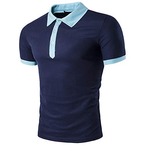 Tradicional Camisa Hombre Verano Moderno Cuello V Hombre Deportiva Camisa Empalme Botón Placket T-Shirt Básica Stretch Business Casual Golf Hombre Polo Shirt B-Navy Blue XL