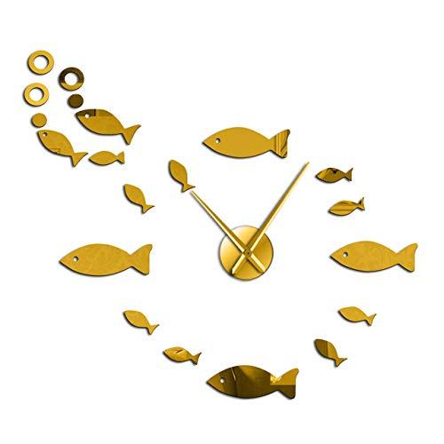 HIDFQY Fisch und Schaum DIY Riesen stumm Wanduhr Spiegeleffekt Wandkünstler Hauptdekoration Aquarium Dekoration rahmenlose große Nadel Zeituhr 37 Zoll Gold