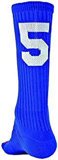 Number One Crew Digit Sports Sock Single Sock, Not Pair ( Royal Blue / White # 5 - Large )