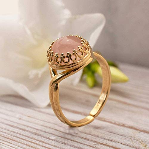 14k Gold Plated Over 925 Sterling Silver Rose Quartz Ring Vintage Style October Libra Birthstone product image