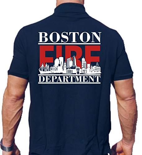 feuer1 Polo Bleu Marine, Boston Fire Dept. avec Skyline de Boston (Rouge/Blanc) L Bleu Marine