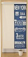 綿混洋風のれん85×150cm デニムデザイン2 ネイビーnaru-09-049