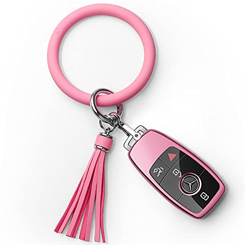 Tukellen for Mercedes Benz Key fob Cover with Bracelet Keyring Special Soft TPU Key Case Protector Compatible with Mercedes Benz 2017-2021 E-Class 2018-2021 S-Class 2019-2021 A C G Class-Pink