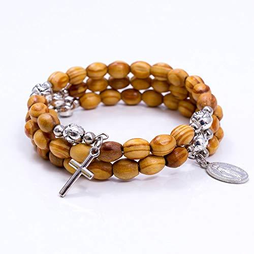 MaMeMi Wunderschönes, dreireihiges Rosenkranz-Armband mit Echtholzperlen