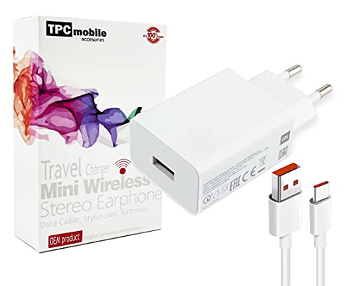Cargador de Red 27W Turbo Charge Carga Rápida 4.0 + Cable USB-C para Xiaomi Poco X2, Redmi K30, Mi 9, Mi 9T Pro, Mi 10, Note 9 Pro, Note 10 Lite