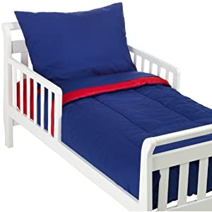 crib bedding and baby bedding american baby company 100% cotton percale 4-piece toddler bedding set, red/royal, for boys