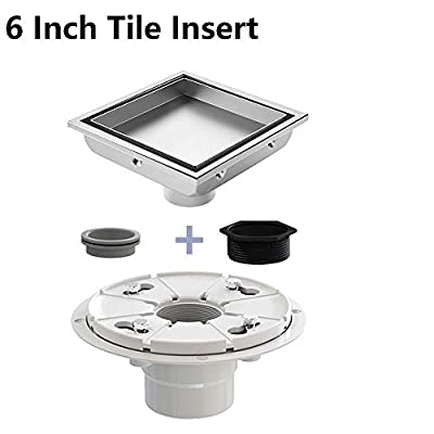 USHOWER Square Shower Drain 6 Inch, Tile-insert &Flat Cover 2-in-1 Brushed Nickel 304 Stainless Steel Linear Drain with Drain flange kit