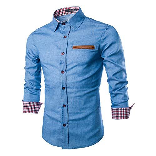 Preisvergleich Produktbild Nobrand Herren-Jeans-Shirt,  lässige Passform,  langärmelig Gr. XL,  Blau 1
