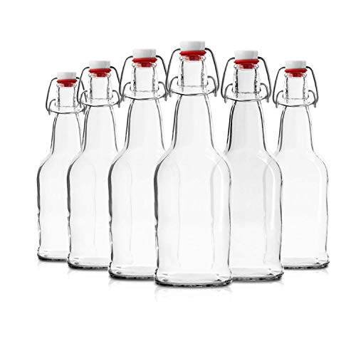 Glass Bottles with Swing Top Lids, Clear Glass Bottles for Home Brewing, Kombucha, Beer, and Other Liquor, 6 Pack by Chef's Star