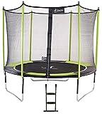 Kangui - Trampoline de Jardin 305 cm + Filet de sécurité + échelle JUMPI Vert/Noir 300