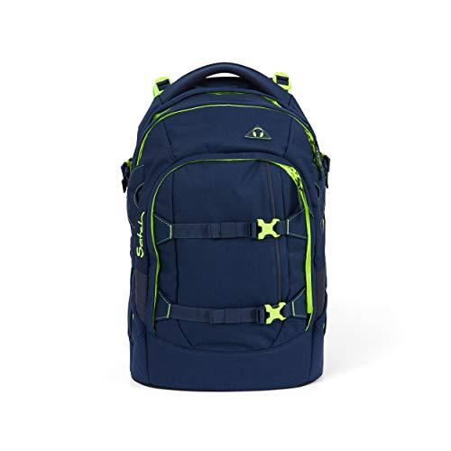 Satch pack Schulrucksack - ergonomisch, 30 Liter, Organisationstalent - Toxic Yellow - Dunkelblau