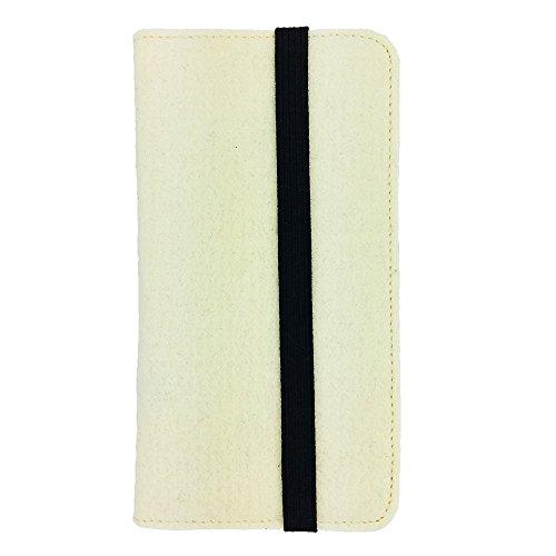 handy-point Universell Organizer für Smartphone Tasche aus Filz Filztasche Filzhülle Hülle Schutzhülle mit Kartenfach für Samsung, iPhone, Huawei (5,6-6,4 Zoll max 18 x 9,3 m, Creme)