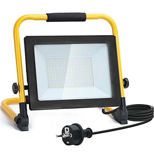 Aigostar - Faretto LED da Cantiere 100W,9000LM,Super luminoso Faro LED con Spina,Equivalente Alogena 900W,con staffa pieghevole, rotazione 360,portatile,Ideale per cantiere edile, officina, Garage