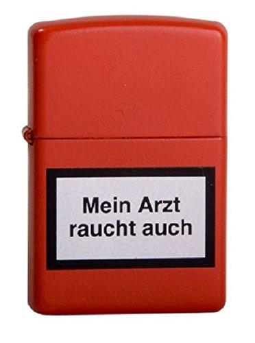 ZIPPO Benzin Feuerzeug rot color Mein Arzt raucht auch