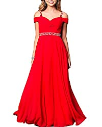 Red Formal Bridesmaid Sleeveless Gown With Rhinestones