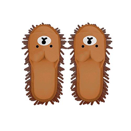 モップスリッパ モップ お掃除スリッパ カラフル インテリア マイクロファイバー 掃除 クマ くま ベア— サンダル 靴 ピンク ベージュ ブラウン クマ 雑貨 8D24 (コーヒー, M)