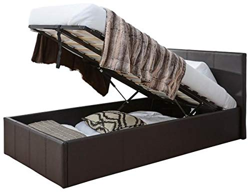 Caspian Ottoman Gas Lift Up Storage Bed Black Brown White (Brown, 3ft Single)