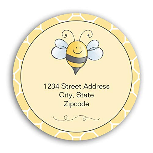 """Personalized Customized Labels Tags,Customizable Stickers Yellow and Black Bumblebee Return Address Classic Round Sticker for Business Custom Made Stickers, 100 Stickers3X3"""""""