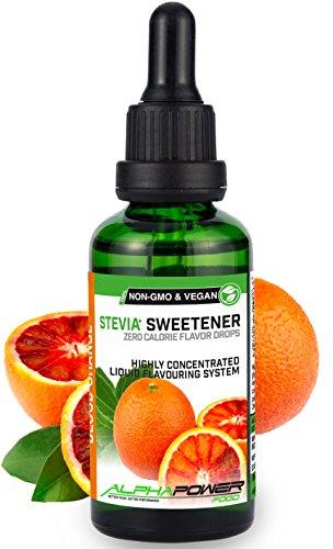 ALPHAPOWER FOOD: Stevia liquida, (1 x50ml Gusto arancia rossa) Gusto liquido, Gocce aromatizzanti e dolcificante senza zucchero sostituto dello zucchero & calorie, dolcificante naturale, vegano
