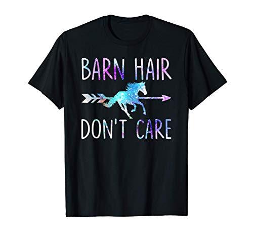 BARN HAIR DON'T CARE Love Horse Riding Equestrian Rider Girl T-Shirt