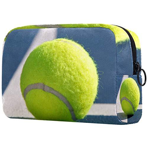 Kosmetiktasche Make-up Taschen für Frauen, kleine Make-up Tasche Reisetaschen für Toilettenartikel - Tennisball Sport