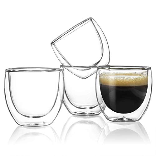 Sweese 408.101 Espresso Cups - 4 Ounce (Top to The Rim), Double-Wall Insulated Glasses - Handmade Glass - Set of 4