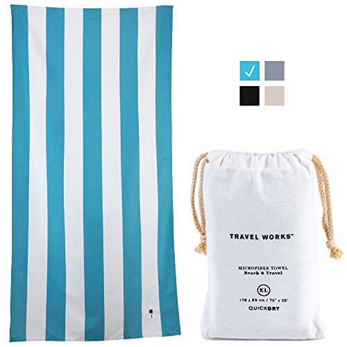 Sand Free Beach Towel with Canvas Travel Bag - Soft and Quick DryMicrofiber Beach Towel in Classic Cabana Stripe (Blue, Large) Packable and Compact The Ideal Oversized Travel Towel for Any Trip