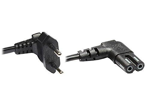 Good Connections® Euro-Netzkabel - 3 m - Netzstecker (90° gewinkelt) an Euro 8 Buchse (90° gewinkelt) - für Smart TV, Playstation, XBOX One S, Drucker, Radio, Rasierer, usw. - schwarz