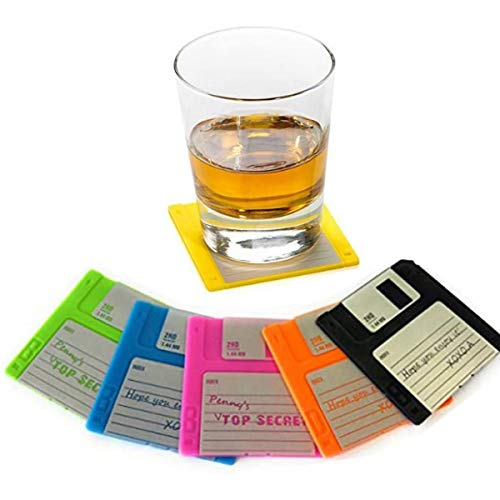 Set of 6 Silicone Floppy Disk Coasters - Colorful Decoration in Retro Style - Durable Heat Resistant Writing Mat for Your Drinks Tabletop Protection with Prevents Furniture Damage