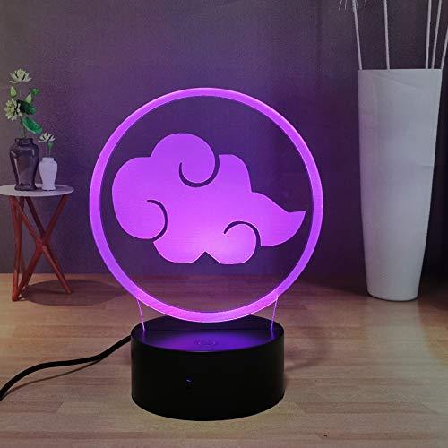 Naruto - Lámpara de noche para niños, dormitorio infantil, lámpara decorativa, Pein Deidara Uchiha Itachi con logotipo de equipo de la lámpara de mesa de oficina, regalo creativo para niños