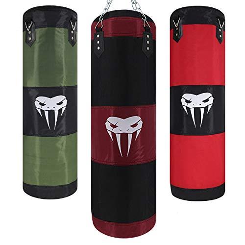 Juego de sacos de boxeo pesados para adultos, resistente para colgar, saco de boxeo sin relleno, longitud de 100 cm, color negro