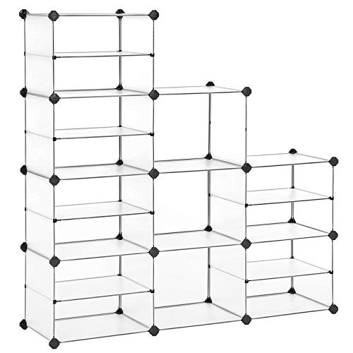 SONGMICS Cube Storage, Shoe Rack, Plastic Organizer Unit with Dividers, for Closet, Kid's Room, Living Room, Shoes, Clothes, Toys, Rubber Mallet Included, White ULPC401W