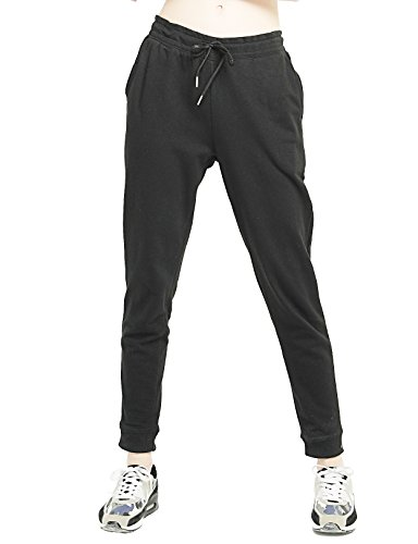 T-INSIDE - Pantalón de deporte para mujer, algodón, con cordón de ajuste, talla grande, de malla, yoga, gimnasio Negro small
