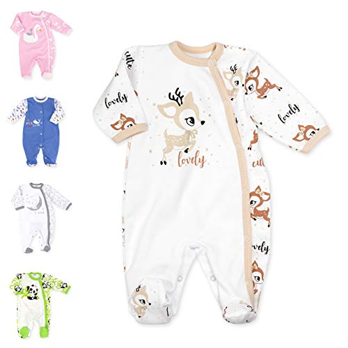 Baby Sweets Baby Strampler für Mädchen und Jungen/Baby-Overall in Weiß Beige Braun als Schlafanzug und Babystrampler im Rentier-Motiv für Neugeborene und Kleinkinder in der Größe: Newborn (56)