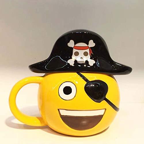 HYOUH Taza de café Taza de Cacao Kawaii Cartoon Pirate Forma de Calavera Taza de café de cerámica con expresión de Sombrero de Pirata Taza de café Botella de Agua Termal para Regalo de Amigo