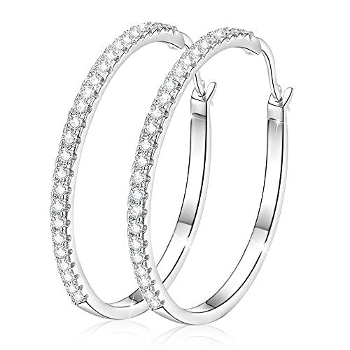 GOXO 925 aros de plata esterlina bucles redondos pendientes pavimentado circón Halo CZ joyería de oreja de mujer (40mm)