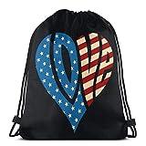 Love America Mochila deportiva ligera con cordón, para gimnasio, yoga, al aire libre, para mujeres y hombres, 36 x 43 cm