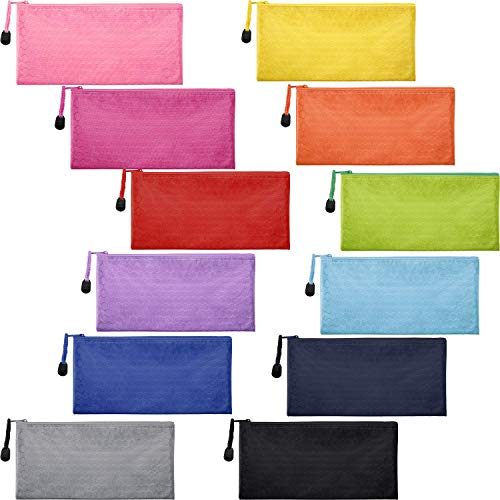 Brozn 12 Pieces 12 Colors Zipper Waterproof File Bag Pencil Pouch Pen Bag for Cosmetic Makeup Office Supplies and Travel, Assorted Colors