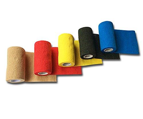LisaCare Fixierbinde 10cm x 4,5m | 5er-Set Kohäsive Bandage | Wundverband | Pflasterverband | elastisch, dehnbar, selbsthaftend, ohne Kleber