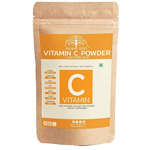 Hollywood Secrets 100% Pure Organic Vitamin C Powder L Ascorbic Acid Skin Whitening Food Grade (100 Gm)