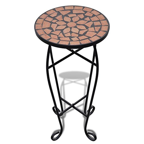 vidaXL New Balcony Mosaic Side Coffee Table Plant Flower Terrace Brown Wedding Dining