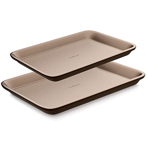 Nutrichef Nonstick Cookie Sheet Baking Pan | 2pc Large and Medium Metal Oven Baking Tray - Professional Quality Kitchen Cooking Non-Stick Bake Trays w/ Rimmed Borders, Guaranteed NOT to Wrap