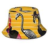 Sombrero Divertido para el Sol de Pesca con flamencos de Halloween, Tapas de Cubo de protección Solar para picnics de Pesca y Paseos en Bote