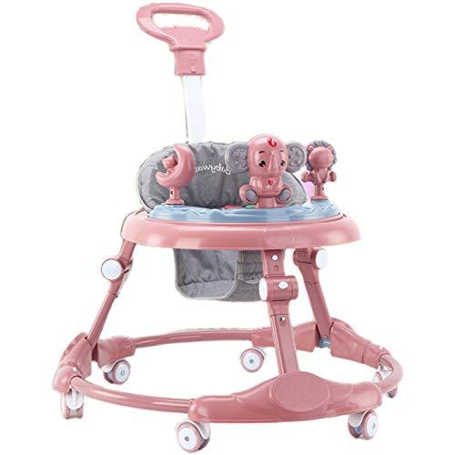 Olz Andador Plegable para Actividades para bebés con Almohadillas para los pies y manijas de Empuje para bebés y niñas pequeñas, 7 Altura Ajustable, Multifuncional Aprendizaje con música,Rosado