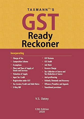 Taxmann's GST Ready Reckoner (12th Edition 2020)