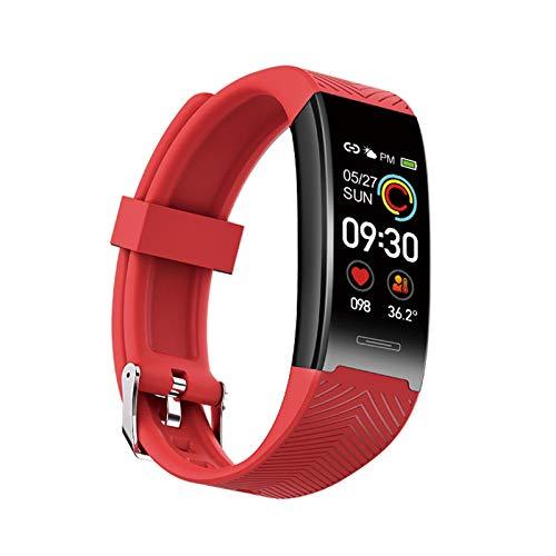 LINRIFIC Reloj Inteligente para Mujeres y Hombres, Rastreador de Ejercicios con Monitoreo de Frecuencia CardíAca/Monitoreo de Temperatura Corporal, Ip67 a Prueba de Agua para Android iOS Rojo