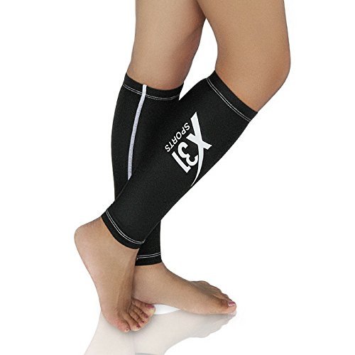 X31 Sports Compression Calf Sleeve Shin Splint Leg Warmer for Running Nurses Travel 15-20 mmHg (Black, Large)